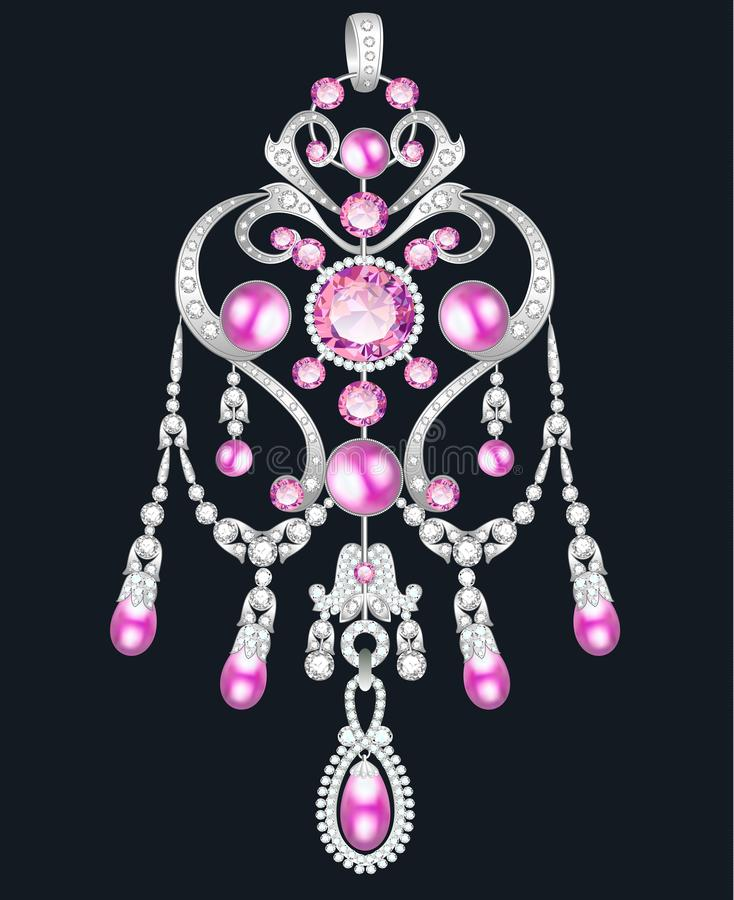 pendant, brooch jewelry with pink pearls and precious stones royalty free illustration