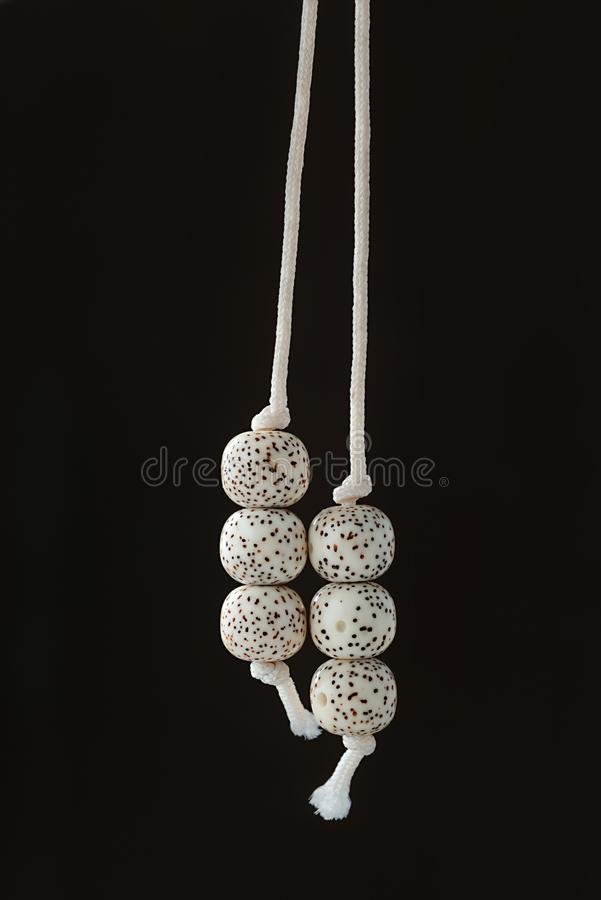 Pendant of buddhist beads rosary of plant seeds organic jewelry. Two beads with cord drooping down,Strings of organic jewelry called rudraksha beads that are the stock photography