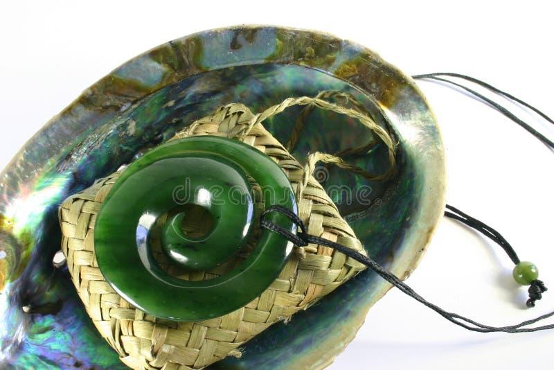 Pendant découpé de Greenstone de jade photographie stock libre de droits