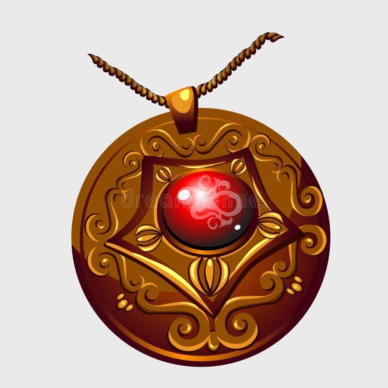 Pendant d'or antique d'amulette avec la pierre rouge illustration de vecteur