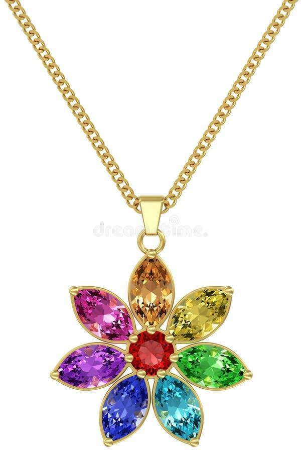 Pendant d'or avec les pierres gemmes colorées sur la chaîne d'isolement sur le fond blanc photographie stock libre de droits