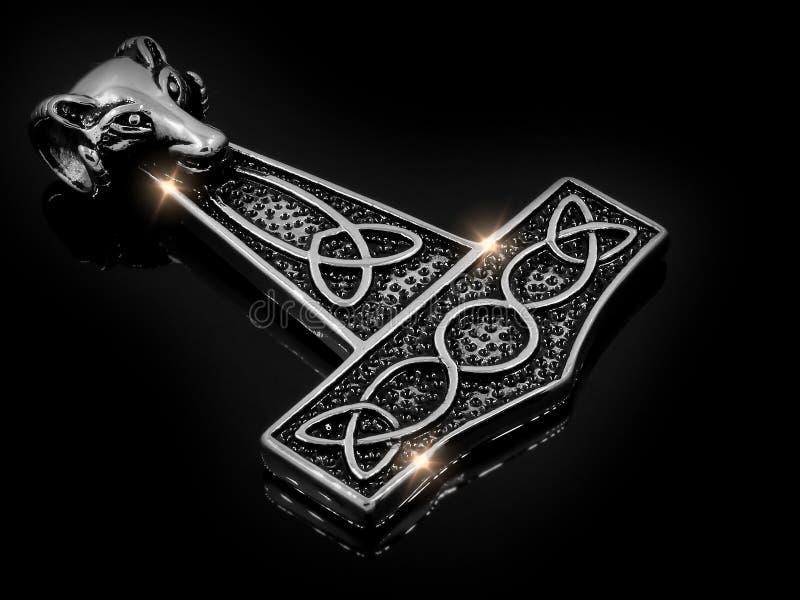 Pendant de bijoux pour les hommes - symbole Viking Hammer - acier inoxydable photo stock