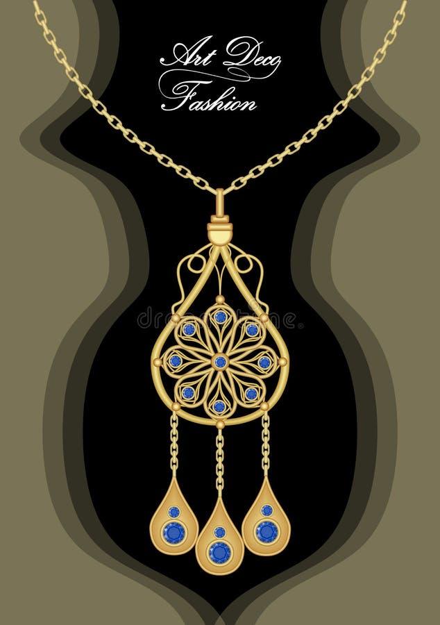 Pendant en filigrane d'art déco cher avec les saphirs bleus sur la chaîne d'or, bijou antique d'or, mode dans le style de victori illustration stock