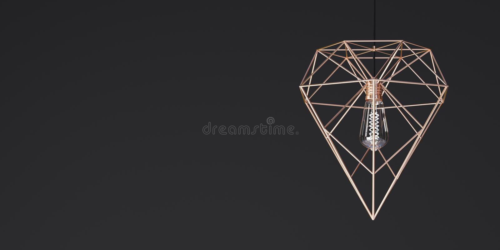 Pendant lamp of gold color in the form of a crystal on a black background - 3D illustration royalty free illustration