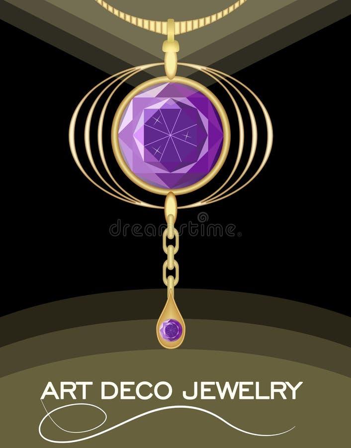 Pendant luxueux d'art déco avec l'améthyste de gemmes de puprle sur la chaîne d'or, mode dans le style de victorian, bijou antiqu illustration stock