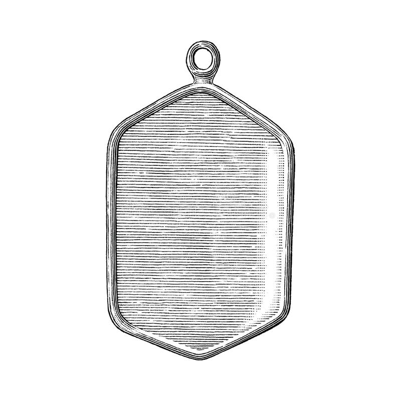 Pendant soldier hand draw vintage style black and white clip art isolated on white background. Pendant war vector illustration