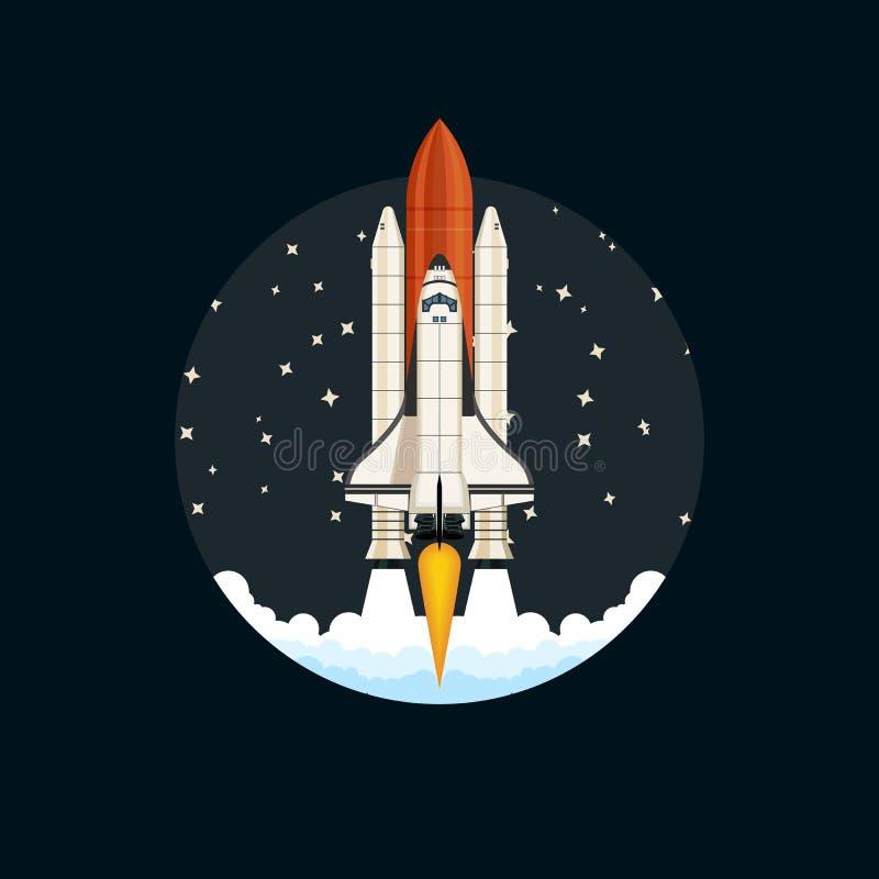 Pendellancering Ruimteschip en ruimteachtergrond stock illustratie