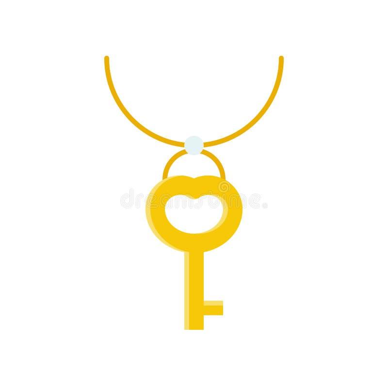 Pendente chiave dell'oro e della collana, icona relativa dei gioielli, progettazione piana illustrazione di stock