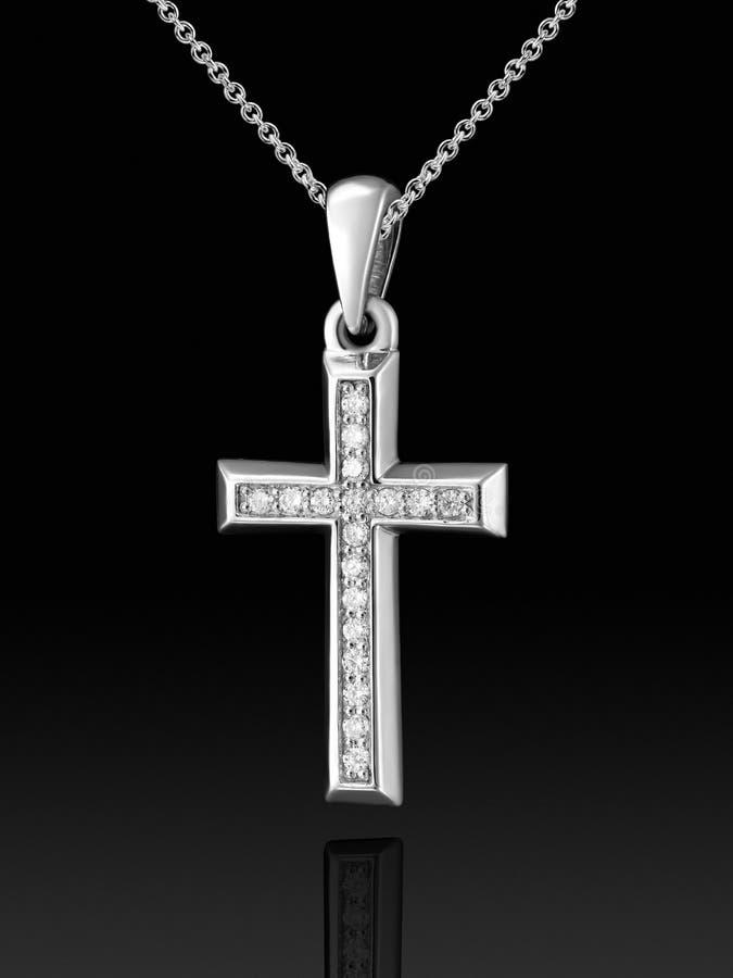 Pendente da cruz do ouro branco com diamantes ilustração royalty free