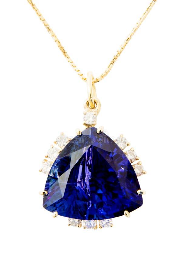 Pendente das senhoras com Tanzanite e diamantes fotografia de stock royalty free