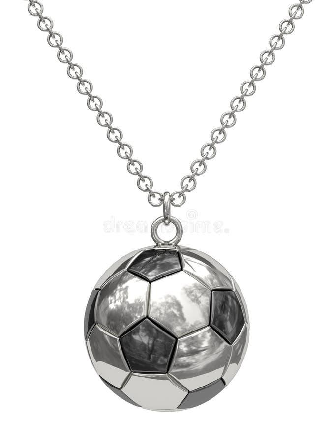 Pendente de prata na forma da esfera de futebol na corrente ilustração stock