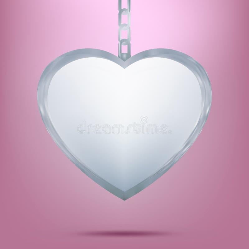 Pendente de prata na forma do coração na corrente. EPS 8 ilustração do vetor