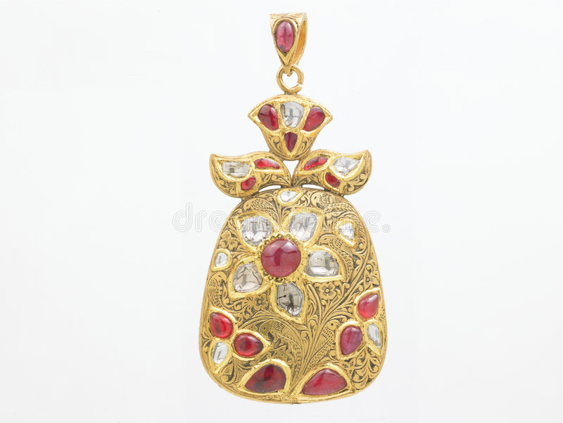 Pendente dei rubini con i diamanti immagini stock libere da diritti
