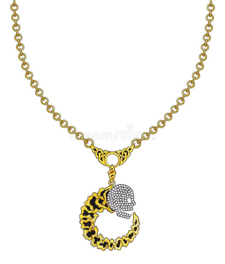 Pendente del cranio della miscela di Art Celtic di progettazione dei gioielli royalty illustrazione gratis