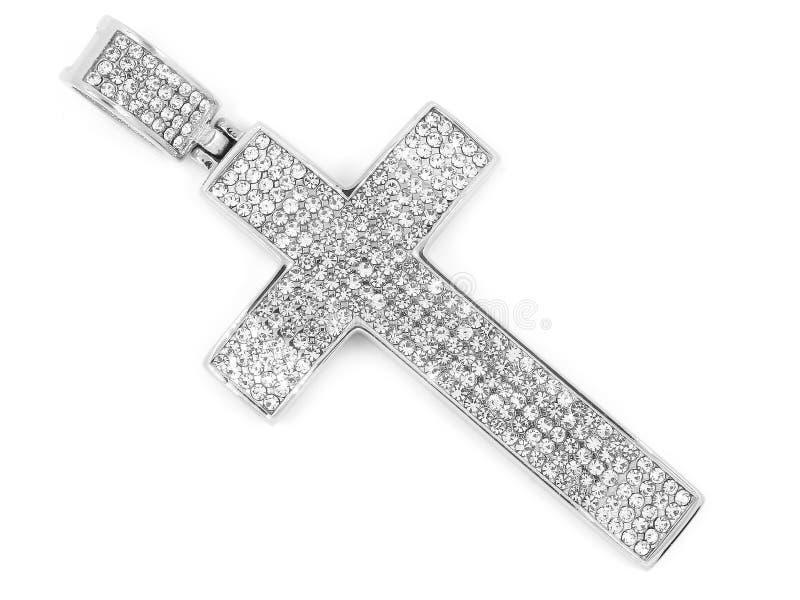 Pendente del gioiello Incrocio della collana Acciaio inossidabile immagine stock libera da diritti