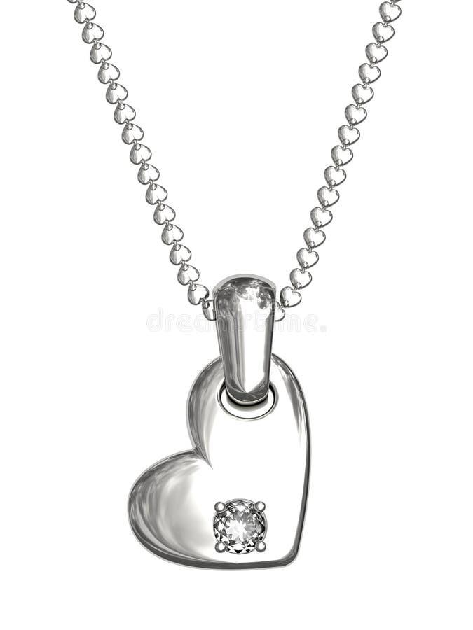 Pendente dell'argento o del platino nella figura di cuore immagini stock libere da diritti