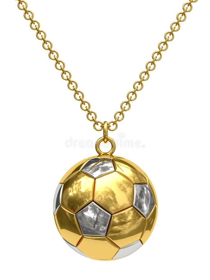 Pendente dell'oro nella figura della sfera di calcio sulla catena immagine stock