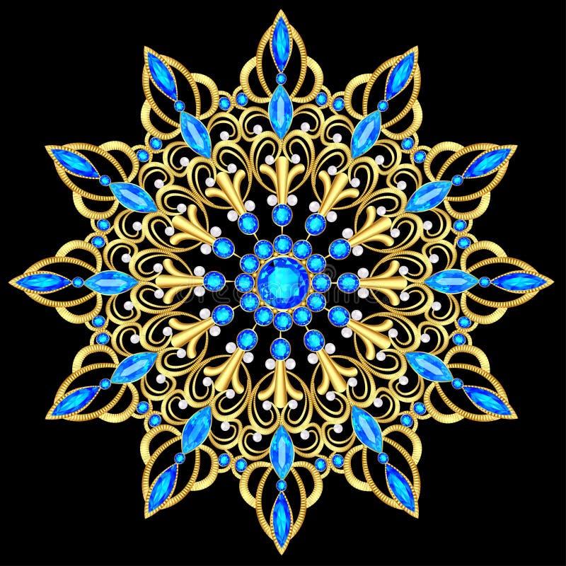 pendente della fibula con e pietre preziose Gioielli vittoriani a filigrana Elemento di disegno illustrazione di stock