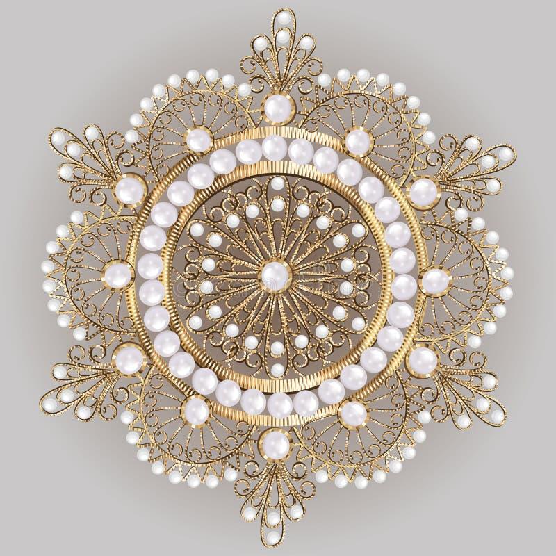 pendente do broche com e pedras preciosas filigree ilustração royalty free