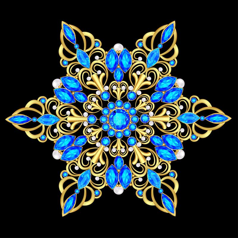 pendente do broche com e pedras preciosas Joia filigrana do victorian Elemento do projeto ilustração do vetor