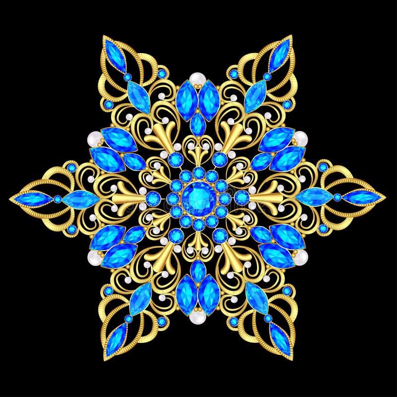 pendente do broche com e pedras preciosas Joia filigrana do victorian Elemento do projeto ilustração stock