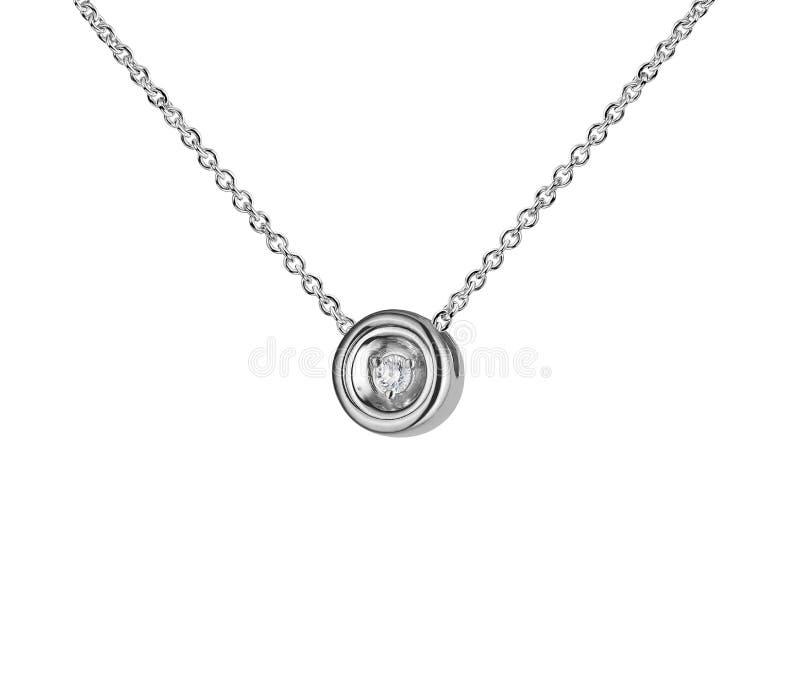 Pendente do ouro branco com diamante, forma redonda, corrente dourada, isolada no branco fotos de stock royalty free