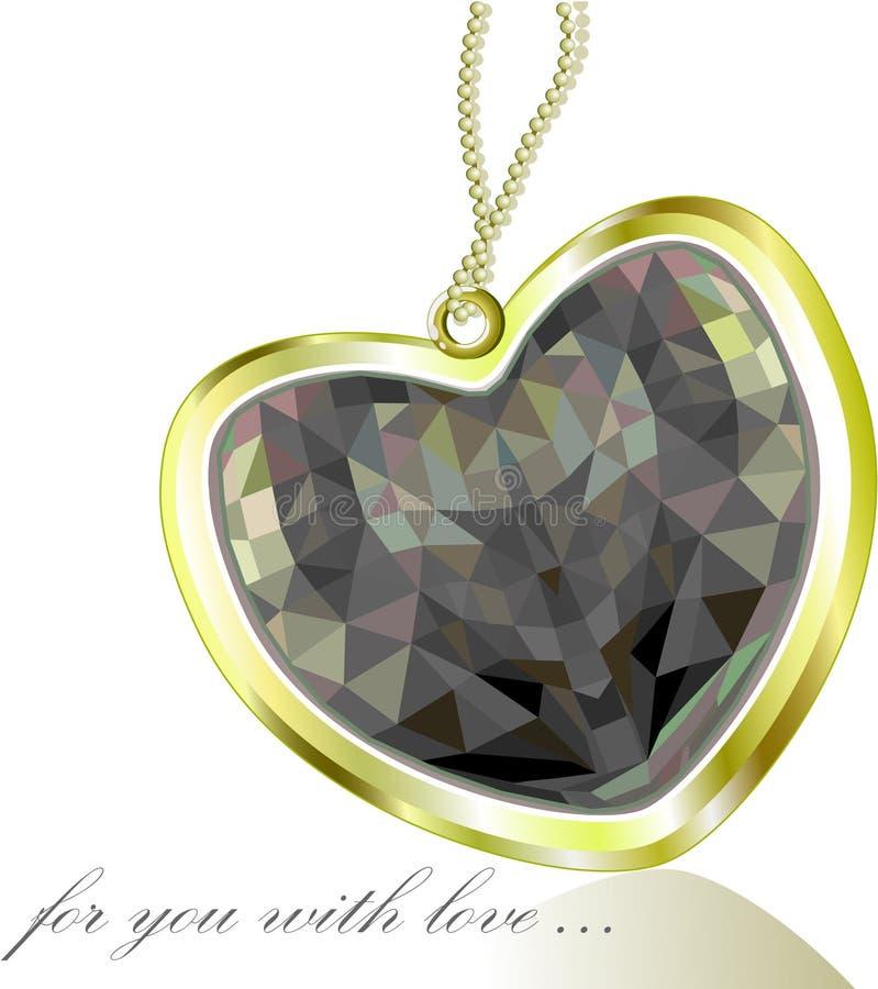 Pendente do ouro com coração do diamante preto ilustração royalty free