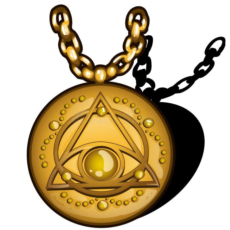 Pendente dorato del giro magico con l'immagine dell'occhio nel triangolo isolato su fondo bianco Fine del fumetto di vettore illustrazione vettoriale