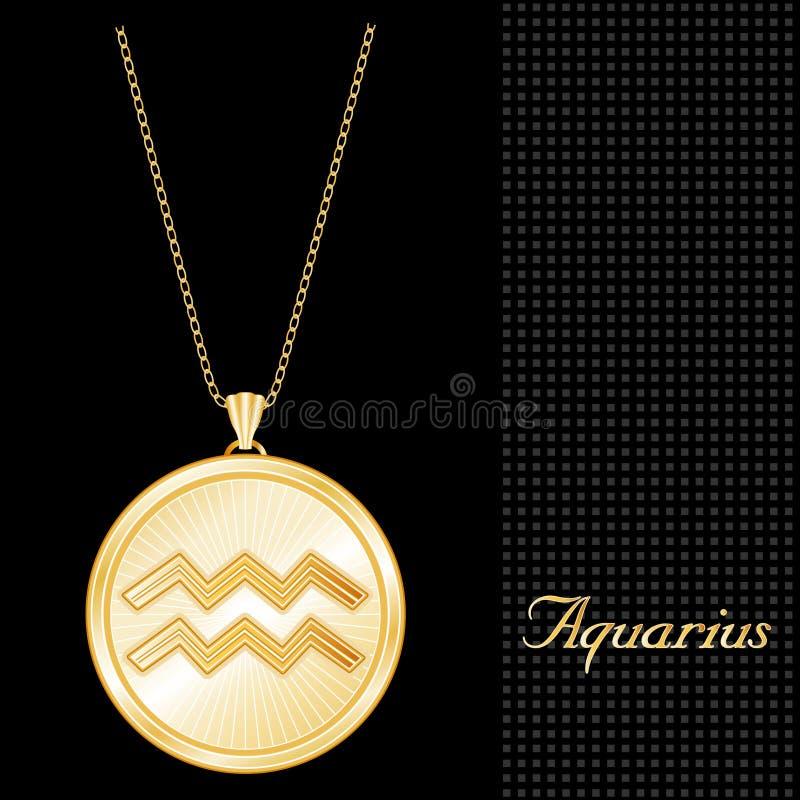 Pendente dorato Neckla del Aquarius illustrazione di stock