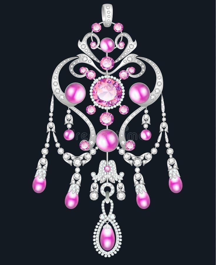 pendente, joia do broche com pérolas cor-de-rosa e pedras preciosas ilustração royalty free