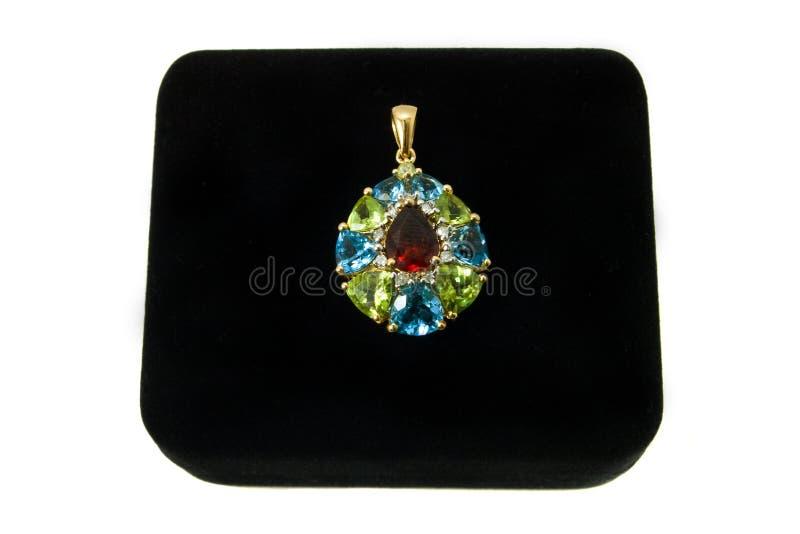 Pendente Multi-colored de gemstone fotografia de stock royalty free