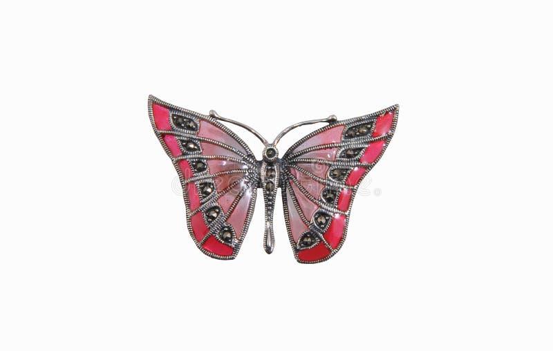 Pendente na forma da borboleta isolado no branco fotografia de stock