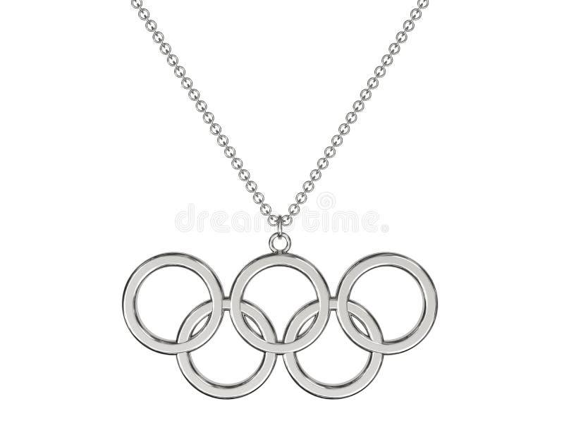 Pendente olimpico degli anelli dell'argento o del platino sulla catena fotografie stock