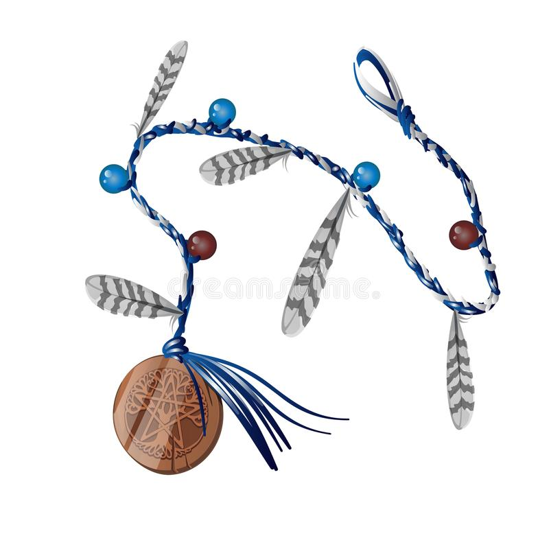 Pendente redondo feito da argila na corda com as penas isoladas no fundo branco O símbolo da religião das bruxas ilustração do vetor