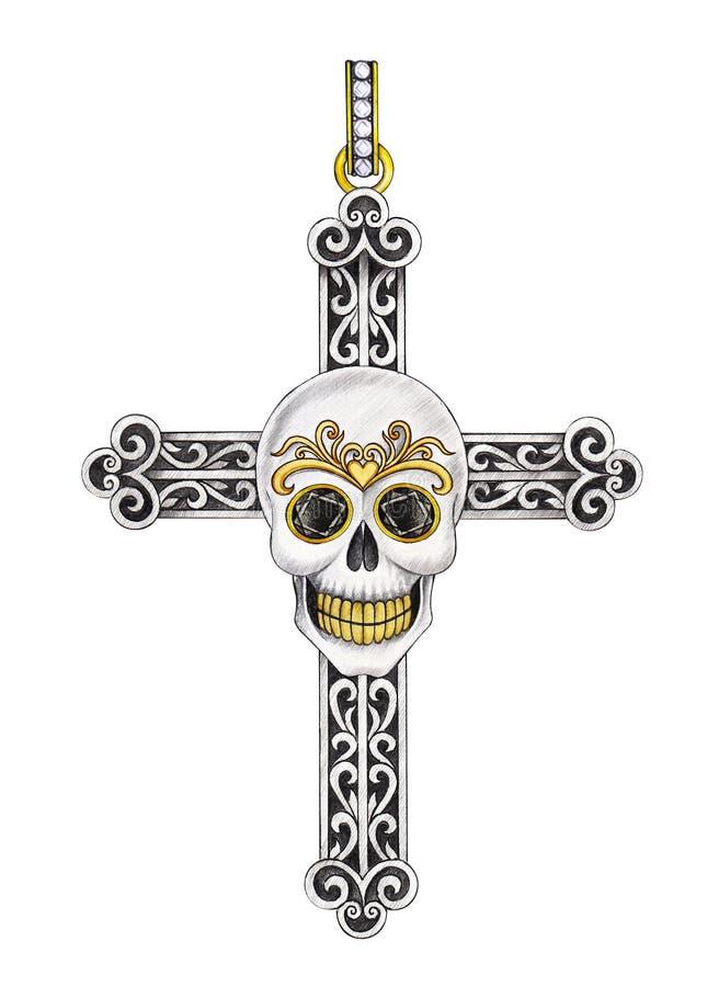 Pendente transversal do crânio da mistura de Art Vintage do projeto da joia ilustração royalty free