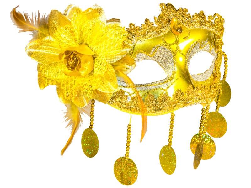 Pendenti dell'oro della maschera di travestimento isolati fotografie stock