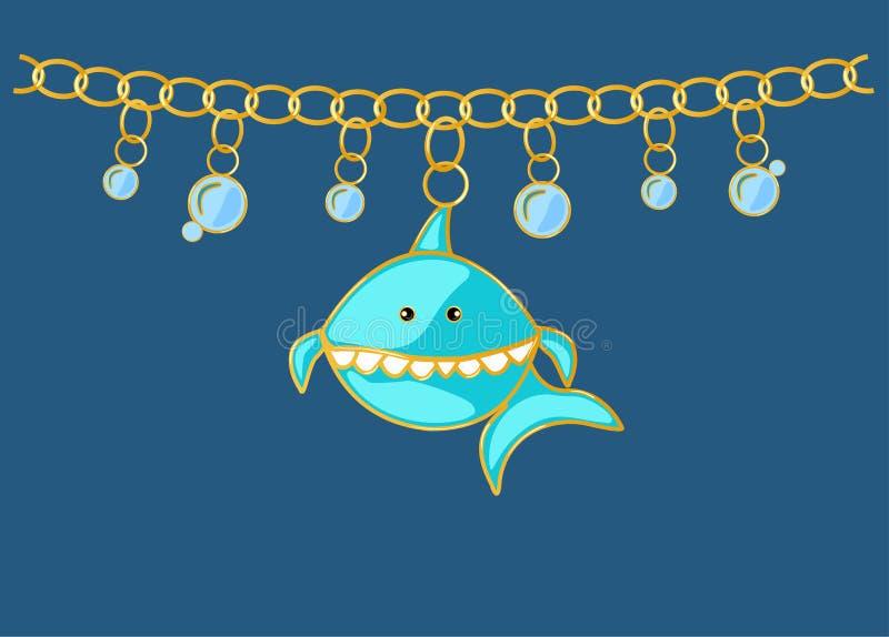 Pendenti dello squalo blu dei gioielli con acqua delle bolle Catena con gli anelli dorati Pesce del carattere di stile del fumett royalty illustrazione gratis