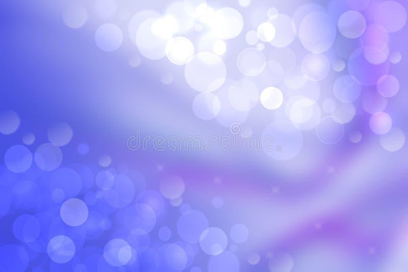 Pendenza astratta di blu-chiaro per dentellare struttura pastello del fondo con le luci circolari d'ardore del bokeh Bella molla  illustrazione vettoriale