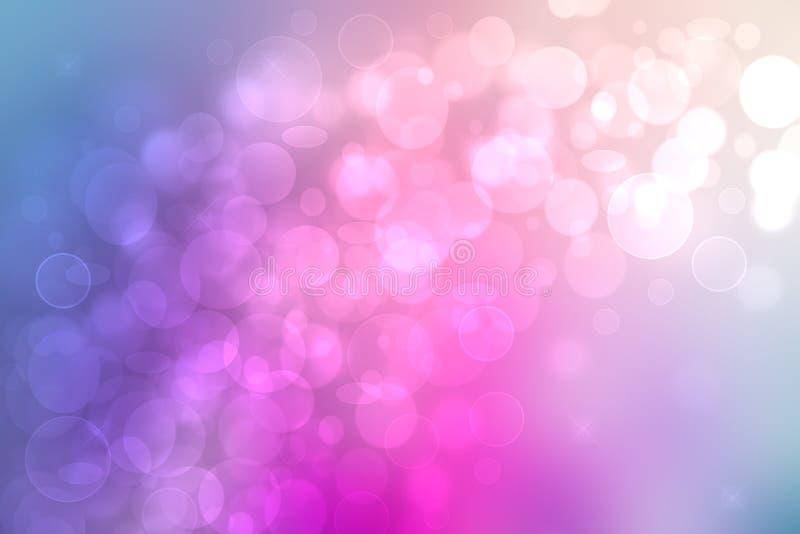 Pendenza astratta di struttura leggera pastello blu rosa del fondo con le luci e le stelle circolari d'ardore del bokeh Bello var royalty illustrazione gratis