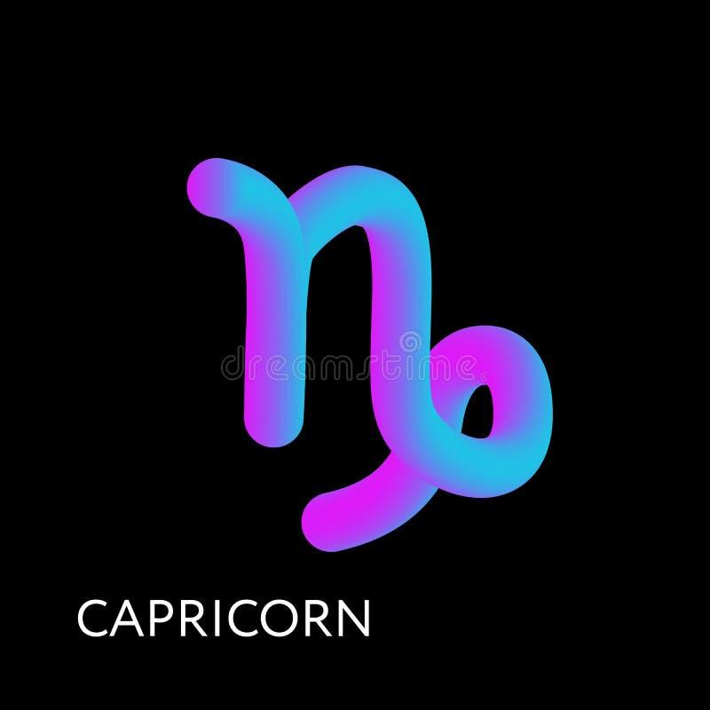 Pendenza di forma del segno 3D dello zodiaco dell'oroscopo del testo di capricorno royalty illustrazione gratis