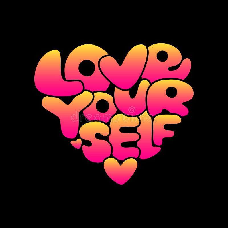 Pendenza disegnata a mano di amore voi stessi sveglio che segna frase con lettere d'avanguardia di affermazione nello stile 80s illustrazione di stock