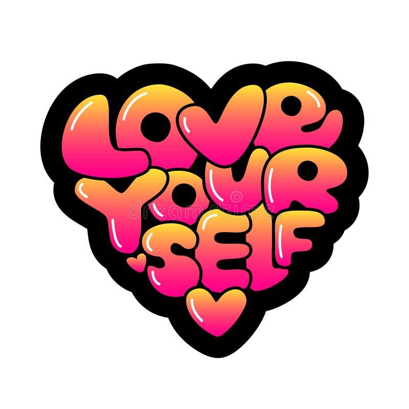 Pendenza disegnata a mano di amore voi stessi sveglio che segna frase con lettere d'avanguardia di affermazione nello stile 80s royalty illustrazione gratis