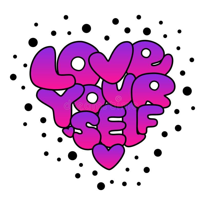 Pendenza disegnata a mano di amore voi stessi sveglio che segna frase con lettere d'avanguardia di affermazione nello stile 80s illustrazione vettoriale