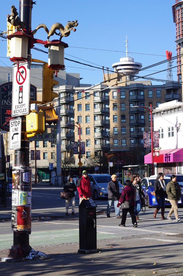 Pender-Straße in Vancouvers Chinatown stockfotos