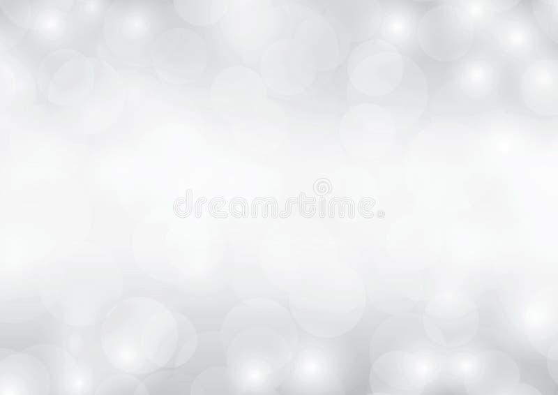 Pendiente borrosa chispeante de la luz abstracta de lujo del bokeh del fondo de la plata del blanco que brilla gris libre illustration
