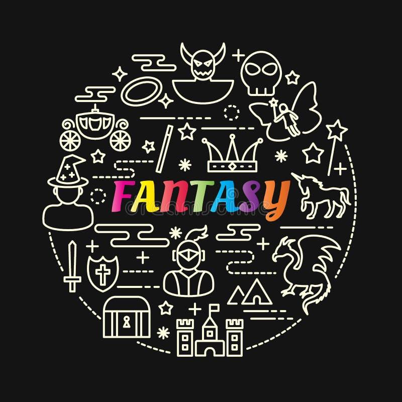 Pendiente colorida de la fantasía con la línea iconos fijados ilustración del vector