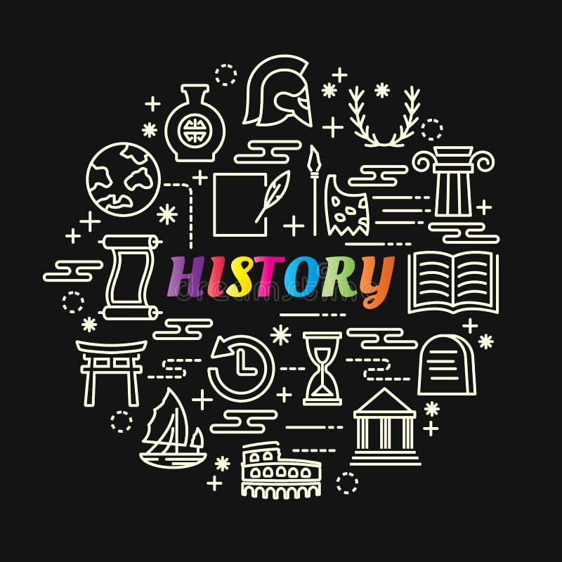 Pendiente colorida de la historia con la línea iconos fijados libre illustration