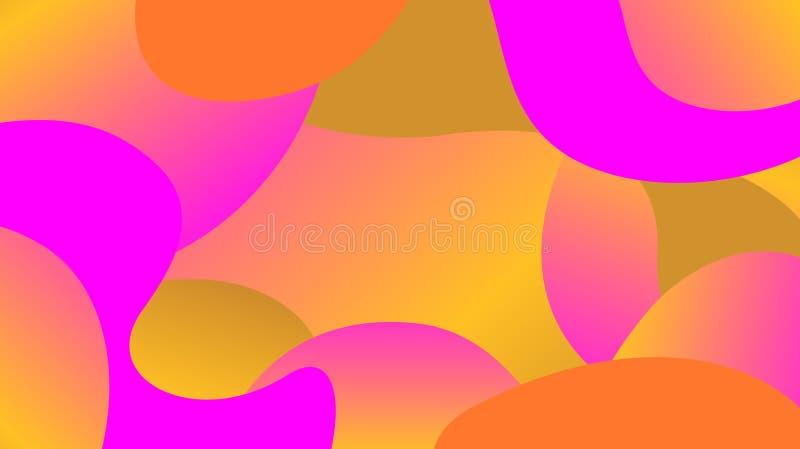Pendiente colorida de las formas de la forma libre, endecha plana de la gota de la onda simple de la geometría, colores ondulados stock de ilustración