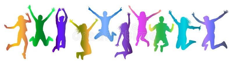 Pendiente colorida de salto de la silueta de la muchedumbre de la gente, sistema Ilustración del vector ilustración del vector