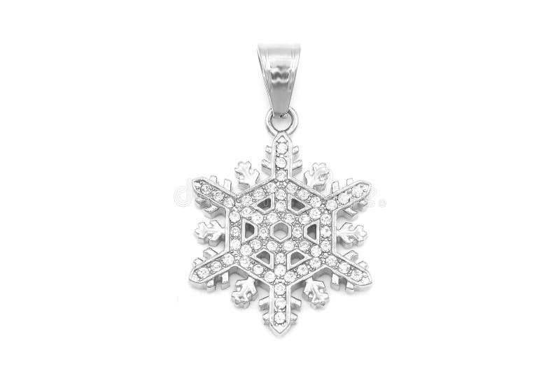 Pendiente de joyas Copo de nieve con zircones Acero inoxidable imagenes de archivo